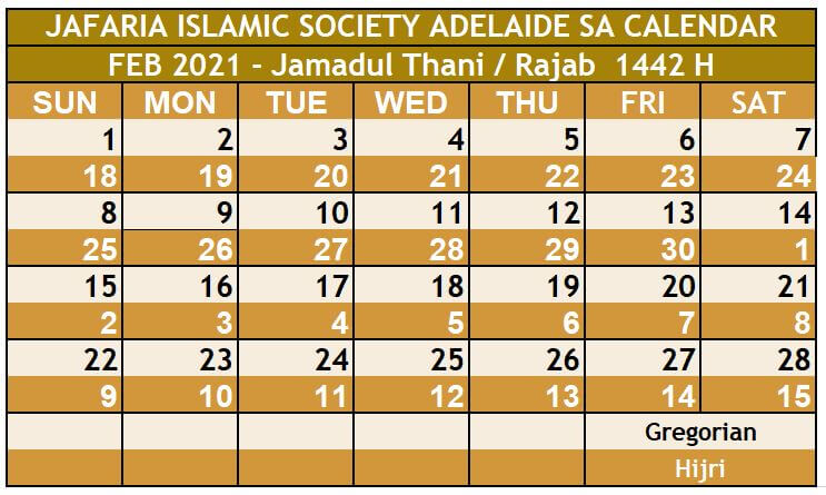 Jafaria Islamic Society_Feb 2021_Namaz Timings