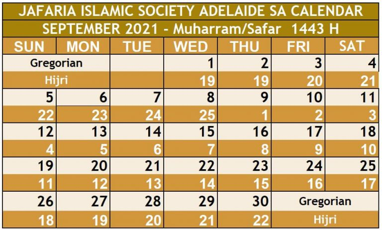 Sep 2021 Namz Timings Adelaide